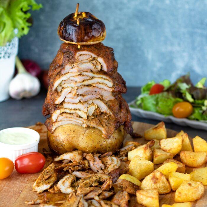 Domowy kebab z indyka pieczony w piekarniku